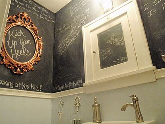 Chalkboard Paint And Inventive Touches Transform A Mini Bathroom