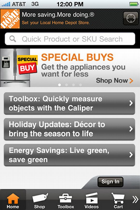 HomeDepotApp The Home Depot Unveils Improved iPhone & iPad App