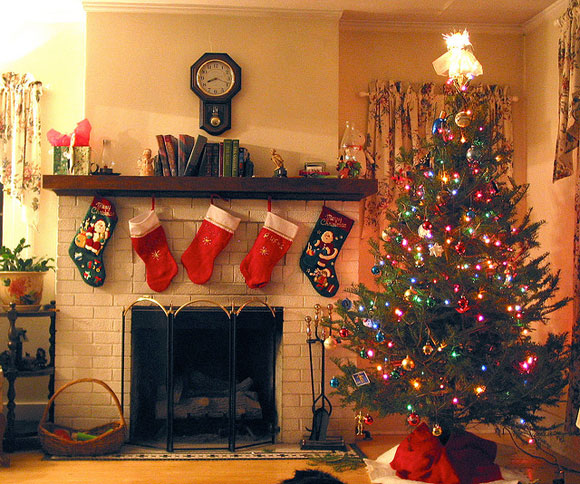 christmas tree fireplace stockings Christmas Trees
