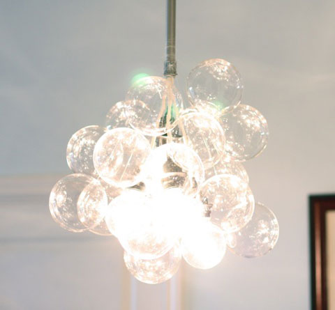 diy chandelier light Easy to Make Glass Ball Chandelier