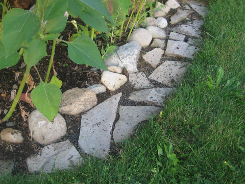 Make Mowing Easy with a Flagstone Edging Strip