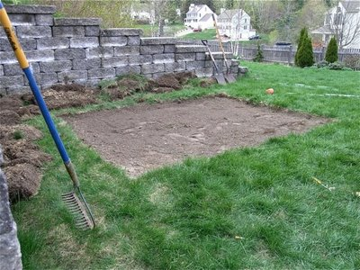 grass removed soil leveled 080410 Building a Sandbox of Your Childs Dreams