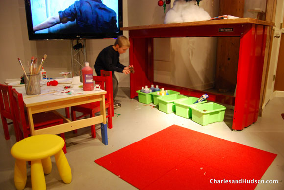 kid setup craftsman Winter Wonderland at the Craftsman Experience