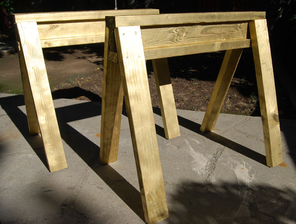 sawhorse finish Our ReadyMade 100 Project: DIY Gold Sawhorses
