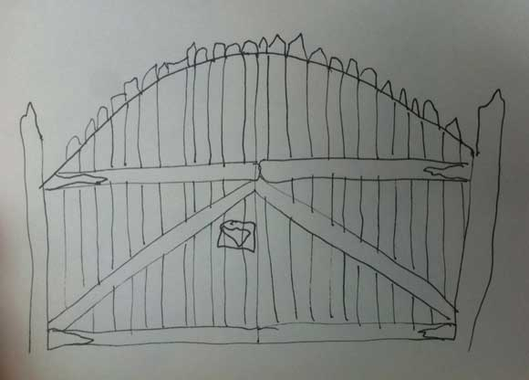 wood gate arch sketch Help Wanted: Design Ideas for a Driveway Gate