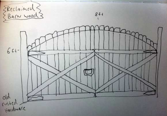 wood gate reclaimed wood Help Wanted: Design Ideas for a Driveway Gate